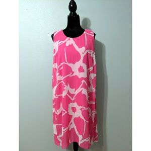 Vince Camuto Pink and White Sleeveless Shift Dress